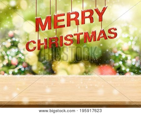 Merry Christmas Red Text (3D Rendering) Hanging Over Wood Plank Table With Snow Falling At Blur Chri
