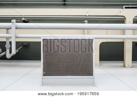 Ventilation system on ceiling, industrial building ceiling