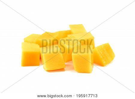 Mango slice isolated on white background Pile of yellow mango fruit