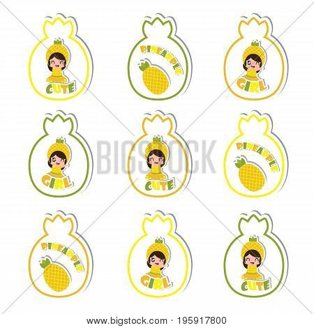 Summer cupcake topper with cute pineapple girls and pineapple fuit vector cartoon for summer kid party and sticker set