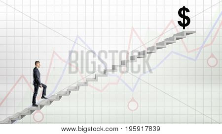 A businessman walking up on concrete stairway on red and blue graph background to a large black USD sign on the top. Business results. Profitable balance. Accounting and investment.