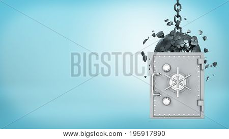 3d rendering of a large wrecking ball hitting a silver old-fashioned safe box and crashing itself in many pieces. Safety and insurance. Best money protection. Reliable bank.