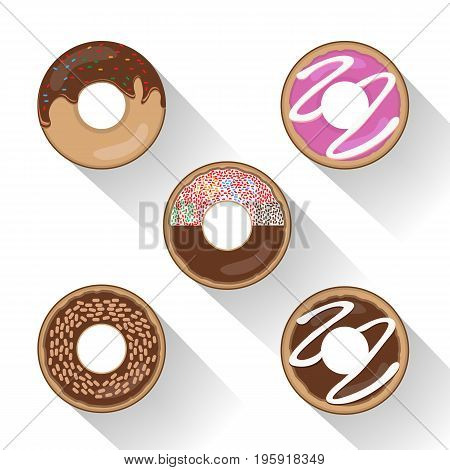 Donut set with sprinkles isolated tasty cream doughnut. Pastry snack cake breakfast donut food bakery sugar chocolate delicious.