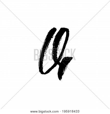 Letter Q. Handwritten by dry brush. Rough strokes font. Vector illustration. Grunge style alphabet.