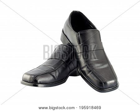 close-up black leather shoes for men isolated on white background, pair of shoes luxury classic simple and formal style