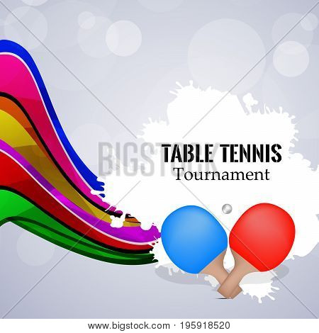 illustration of rackets and ball with table tennis tournament text on the event of Table tennis Tournament