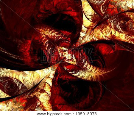 Computer generated fractal artwork with bloody arrows