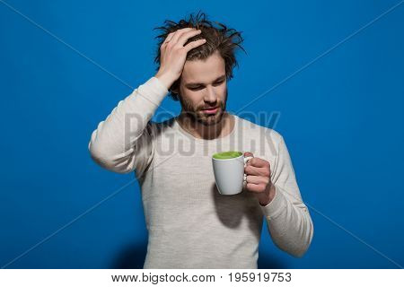Tea Or Coffee At Man With Cup Has Headache