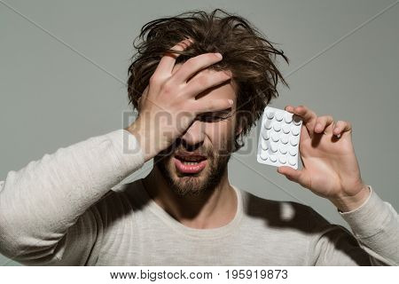 Guy Hold Dieting Pill And Vitamin