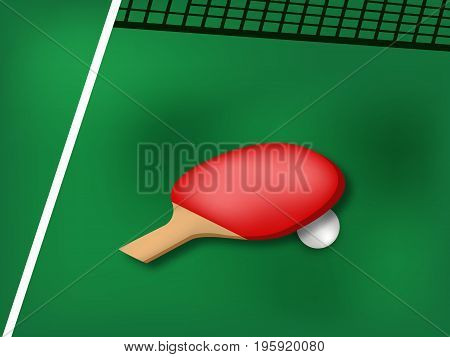 illustration of table rackets and ball with table tennis tournament text on the event of table tennis sport tournament