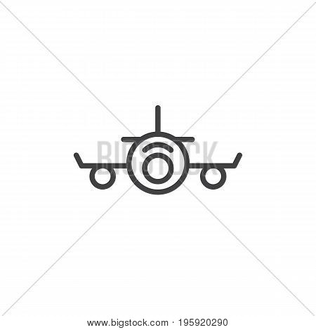 Airplane line icon, outline vector sign, linear style pictogram isolated on white. Plane front symbol, logo illustration. Editable stroke. Pixel perfect graphics