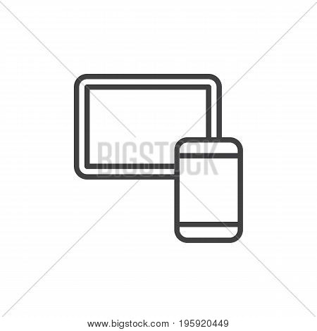 Tablet and smartphone line icon, outline vector sign, linear style pictogram isolated on white. Mobile devices symbol, logo illustration. Editable stroke. Pixel perfect graphics