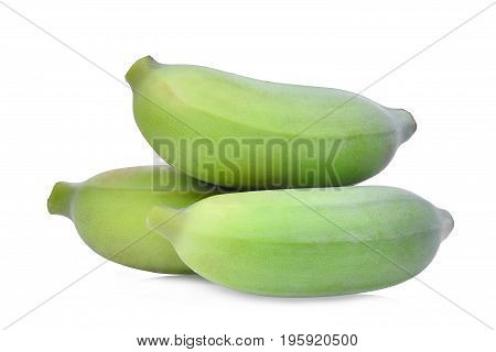 stack of three green raw cultivated banana isolated on white background