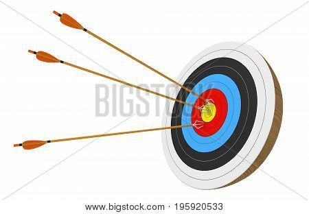 Archery target isolated on white background with three arrows accurately stuck into the center ring, 3D rendering