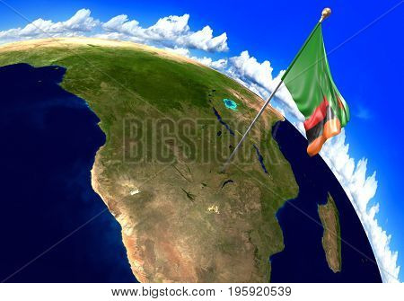 Zambia national flag marking the country location on world map. 3D rendering, parts of this image furnished by NASA