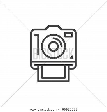 Instant photo camera line icon, outline vector sign, linear style pictogram isolated on white. Symbol, logo illustration. Editable stroke. Pixel perfect graphics
