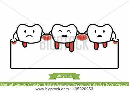Gingivitis And Bleeding - Cartoon Vector Flat Line Style