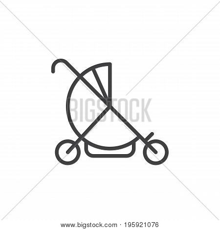 Baby buggy line icon, outline vector sign, linear style pictogram isolated on white. Stroller symbol, logo illustration. Editable stroke. Pixel perfect graphics