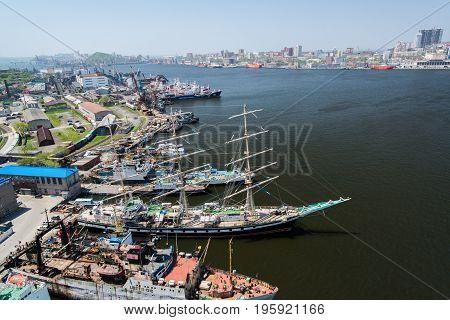 VLADIVOSTOK, RUSSIA, June 01, 2013: View of Vladivostok from the bridge through a bay Golden Horn.