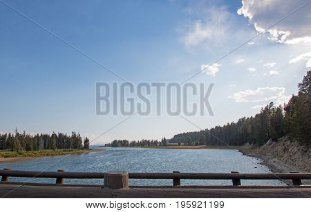 View Of Yellowstone River From The Fishing Bridge In Yellowstone National Park In Wyoming Usa