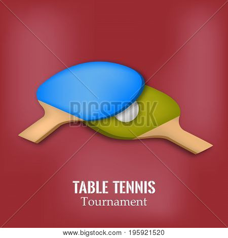 illustration of rackets and ball with table tennis tournament text on the event of table tennis sport tournament