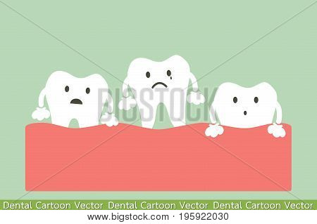 dental cartoon vector loose tooth - wobble on gum