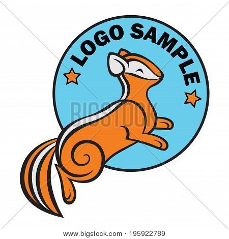 stylish stylized cartoon orange chipmunk vector logo template
