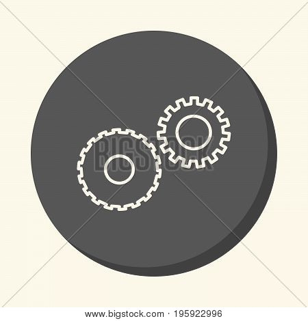 Mechanical gears symbolizing mechanics a circular linear icon with an illusion of volume an element for your school site or booklet