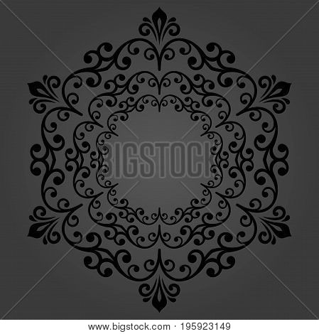 Elegant round dark ornament in classic style. Abstract traditional pattern with oriental elements, Classic vintage pattern