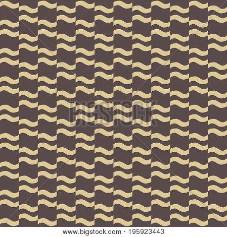 Seamless ornament. Modern background. Geometric pattern with repeating golden wavy elements