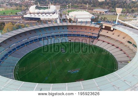 Melbourne Australia - September 15 2013: aerial view of the Melbourne Cricket Ground the 1956 Olympic stadium and a major AFL football stadium