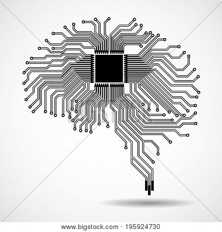 Abstract technological brain. Cpu. Circuit board. Vector illustration. Eps 10