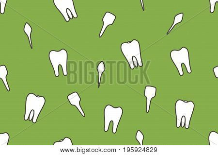 dental vector seamless pattern - tooth type - incisor canine premolar molar