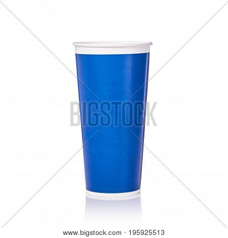 Blank Blue Paper Cup For Soft Drink Or Coffee. Studio Shot Isolated On White