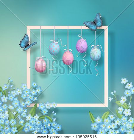 Easter decorative frame with flowers hanging painted eggs and butterflies