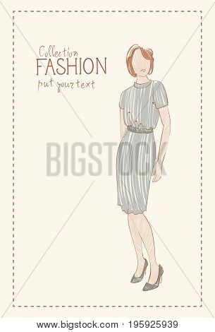 Fashion Collection Of Clothes Female Model Wearing Trendy Clothing Sketch Vector Illustration