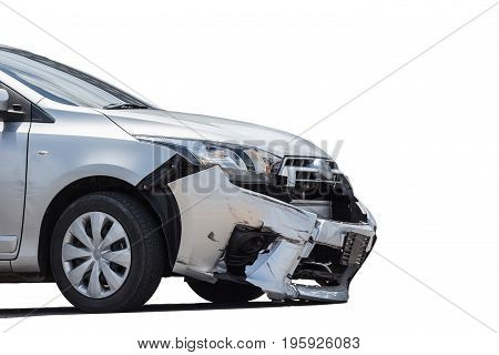 Front Of Silver Car Get Damaged By Crash Accident On The Road. Isolated On White. Saved With Clippin