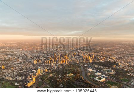 Aerial view of Melbourne Australia at sunrise taken from a hot air balloon.
