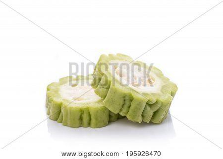 Fresh Slice Green Bitter Gourd. Studio Shot Isolated On White Background