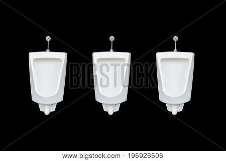 New Row Of Ceramic Outdoor Urinals In Men Public Toilet. Isolated On Black. Saved With Clipping Path