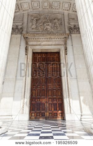 18th century St Paul Cathedral entrance London United Kingdom. It is an Anglican monumental cathedral the seat of the Bishop of London