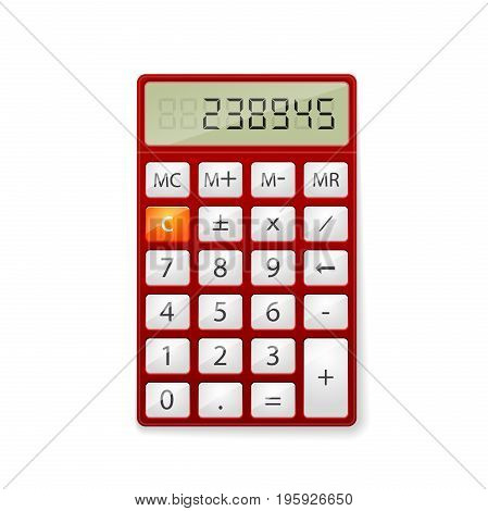 Red office Calculator isolated on white background.