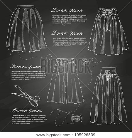 Set of woman casual clothes, midi skirts. Simple flat vector illustration on a chalkboard