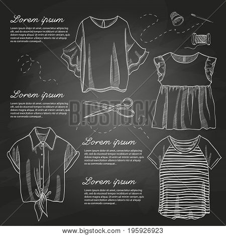 Set of woman casual clothes, shirts with frills, t-shirts. Simple flat vector illustration on a chalkboard