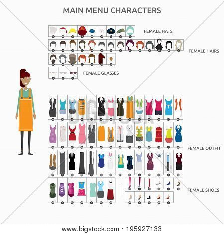 Character Creation Casierlady | set of vector character illustration use for human, profession, business, marketing and much more.The set can be used for several purposes like: websites, print templates, presentation templates, and promotional materials.