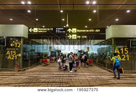 Interior Of Changi Airport In Singapore