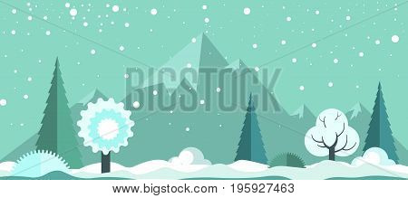Cold winter panoramic spectacular landscape with light snowfall, white frozen trees, tall evergreen spruces, small snow drifts and high rocky mountains on horizon cartoon vector illustration.