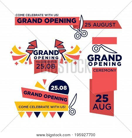 25 August grand opening ceremony invitations with red ribbon and scissors that cut it, firework rockets and thick signs that encourage to come and celebrate this event isolated vector illustration.