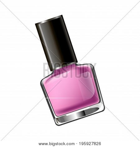 Vector illustration of small flask with pink nail polish isolated on white.