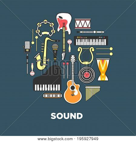 Instruments with great sound formed in circle. Powerful wind, authentic noise and fine stringed instruments, loud percussion, melodic keyboards, vinyl record and modern mics vector illustrations.